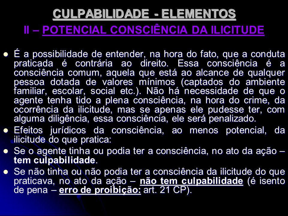 CULPABILIDADE - ELEMENTOS