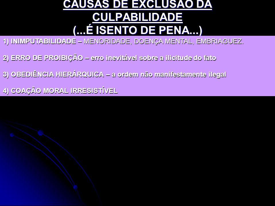 CAUSAS DE EXCLUSÃO DA CULPABILIDADE (...É ISENTO DE PENA...)