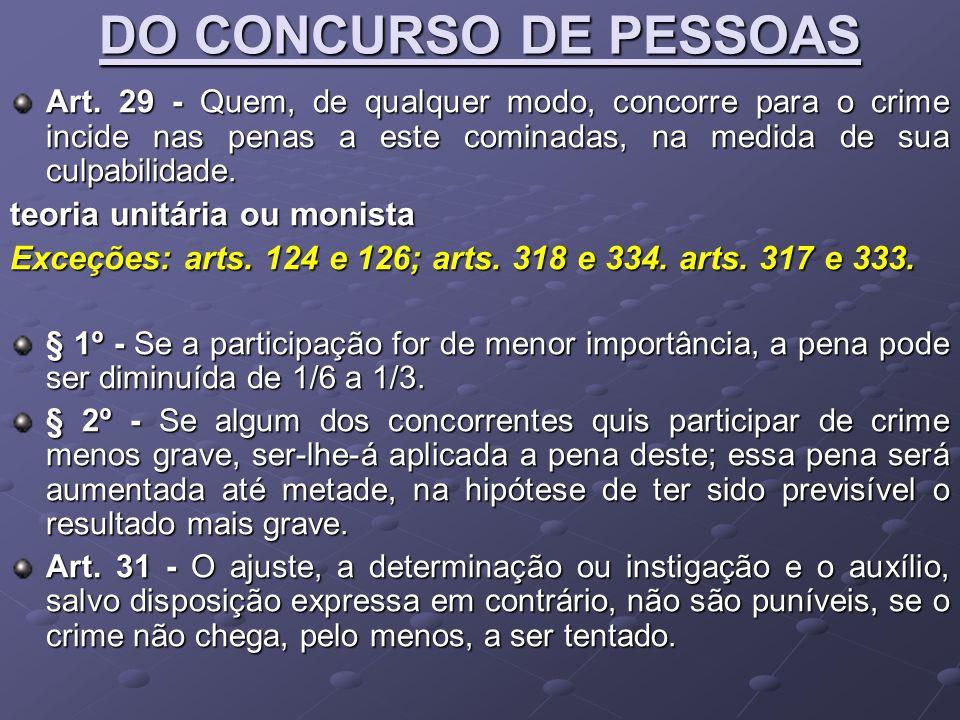 DO CONCURSO DE PESSOAS teoria unitária ou monista