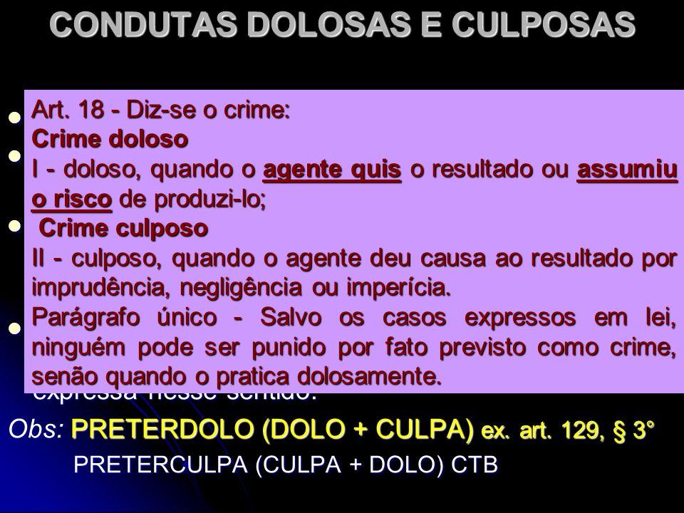 CONDUTAS DOLOSAS E CULPOSAS