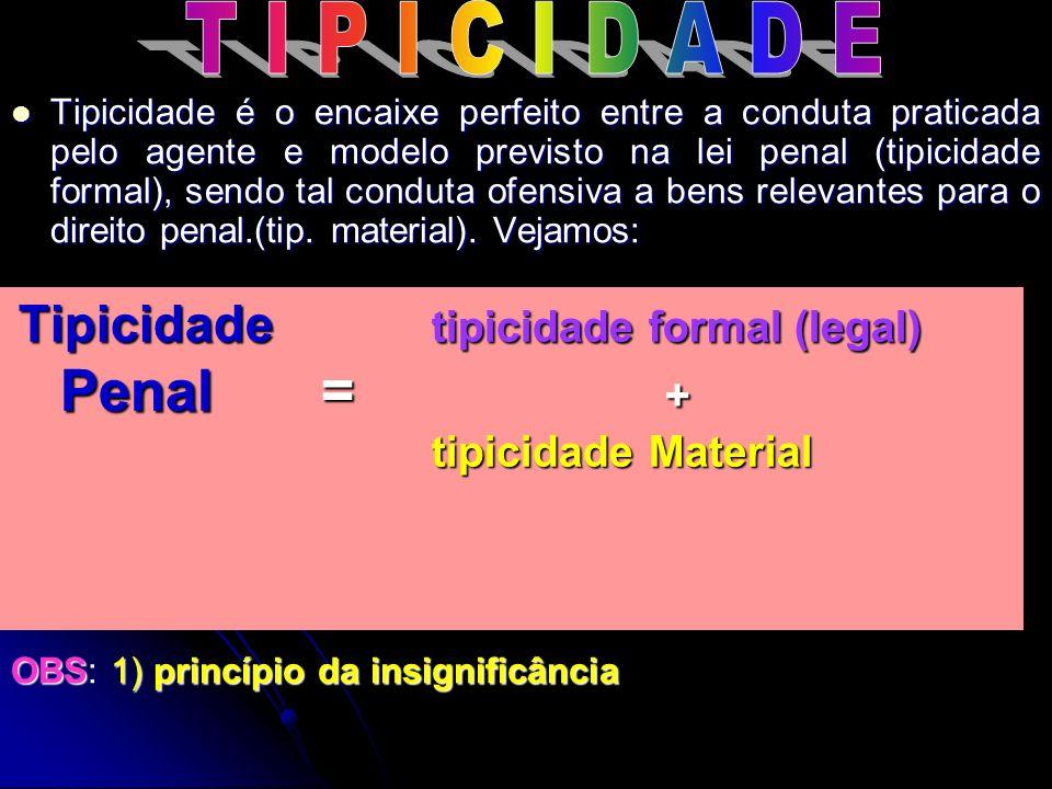 T I P I C I D A D E Penal = + tipicidade Material