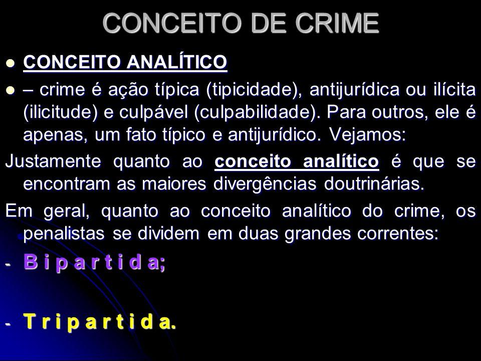 CONCEITO DE CRIME B i p a r t i d a; T r i p a r t i d a.