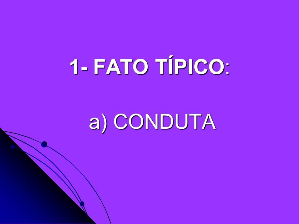 1- FATO TÍPICO: a) CONDUTA