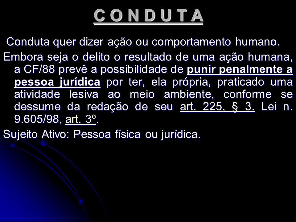 C O N D U T A Conduta quer dizer ação ou comportamento humano.