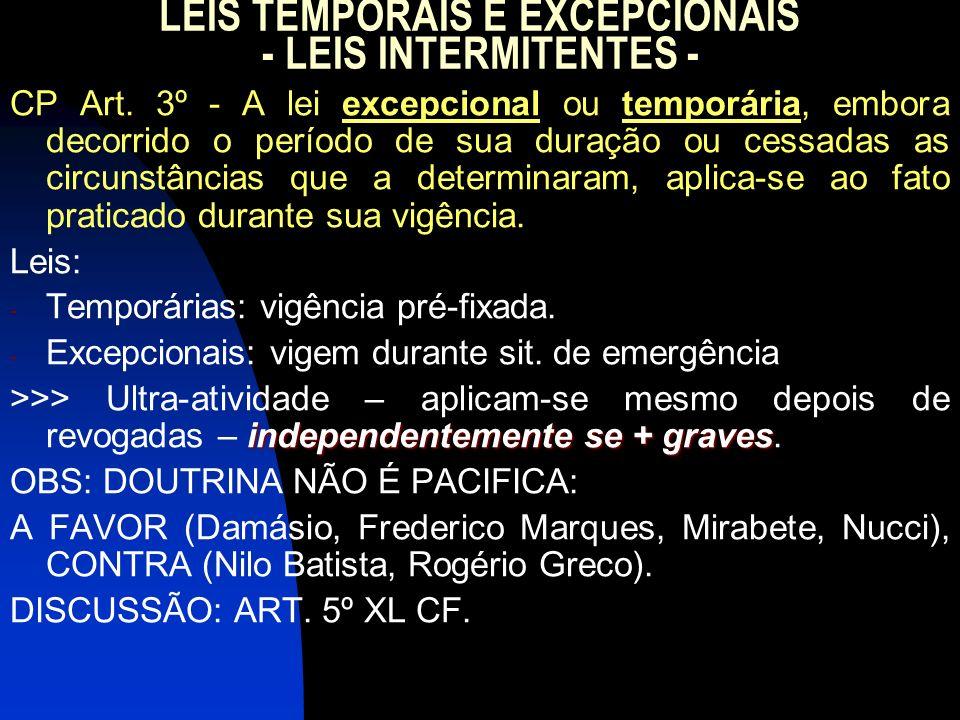 LEIS TEMPORAIS E EXCEPCIONAIS - LEIS INTERMITENTES -