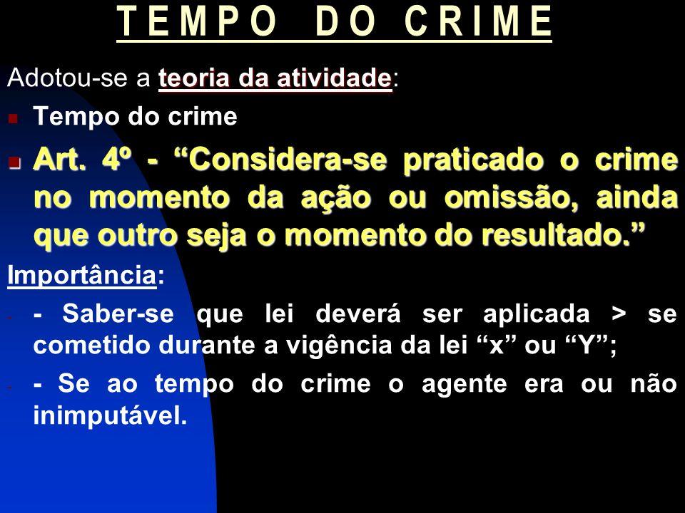 T E M P O D O C R I M E Adotou-se a teoria da atividade: Tempo do crime.