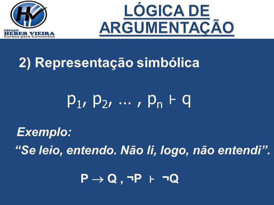 p1, p2, … , pn ⊦ q LÓGICA DE ARGUMENTAÇÃO 2) Representação simbólica