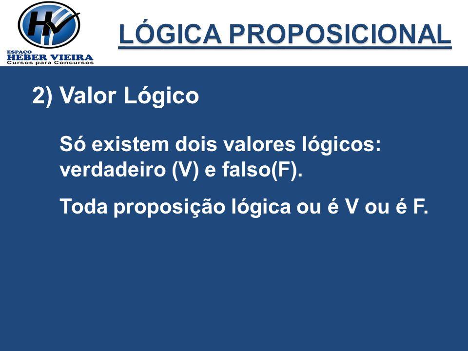 LÓGICA PROPOSICIONAL 2) Valor Lógico