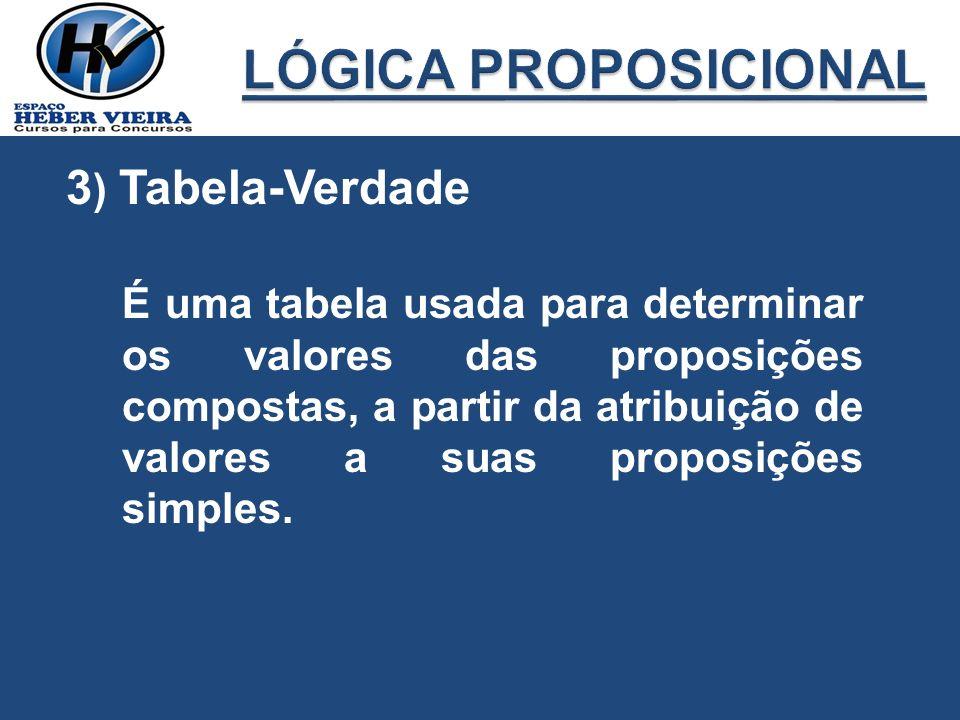 LÓGICA PROPOSICIONAL 3) Tabela-Verdade