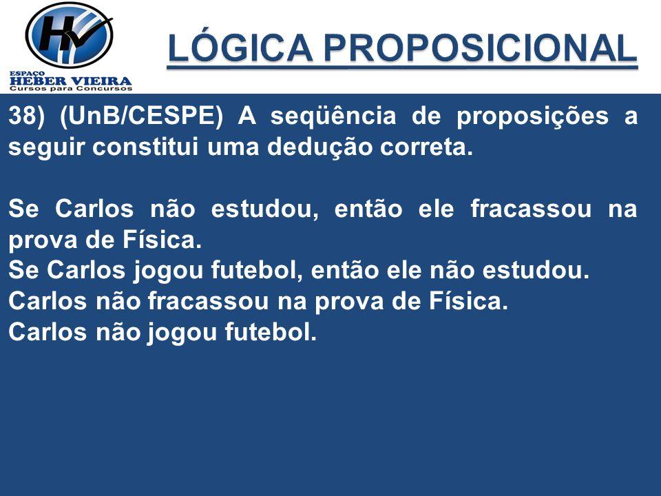 LÓGICA PROPOSICIONAL 38) (UnB/CESPE) A seqüência de proposições a seguir constitui uma dedução correta.