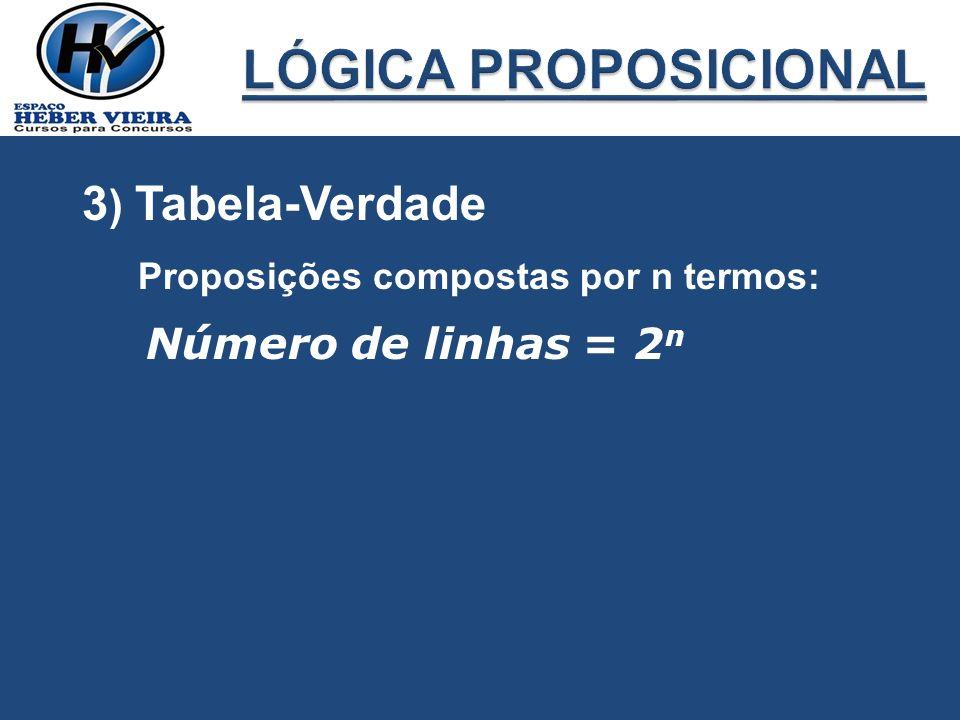 LÓGICA PROPOSICIONAL 3) Tabela-Verdade Número de linhas = 2n