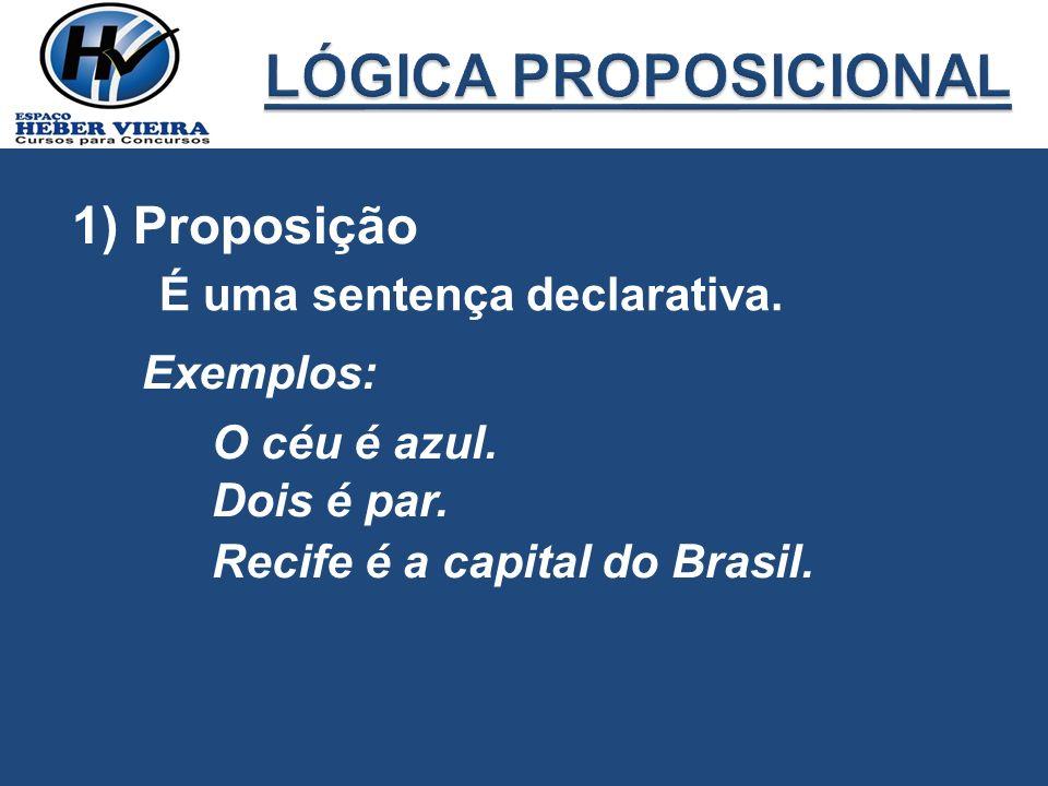 LÓGICA PROPOSICIONAL 1) Proposição É uma sentença declarativa.