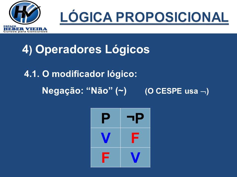 P ¬P V F LÓGICA PROPOSICIONAL 4) Operadores Lógicos