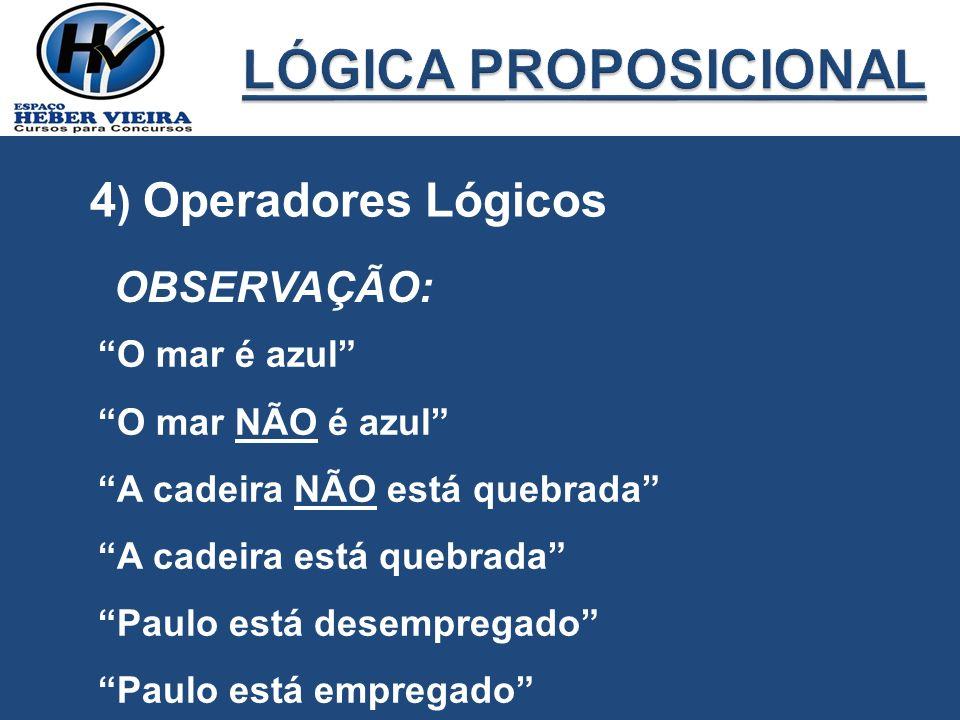 LÓGICA PROPOSICIONAL 4) Operadores Lógicos OBSERVAÇÃO: O mar é azul
