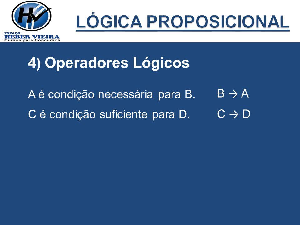 LÓGICA PROPOSICIONAL 4) Operadores Lógicos