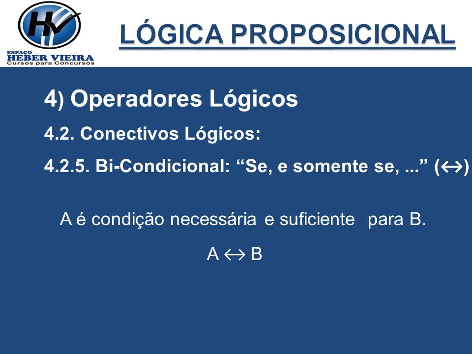 LÓGICA PROPOSICIONAL 4) Operadores Lógicos 4.2. Conectivos Lógicos: