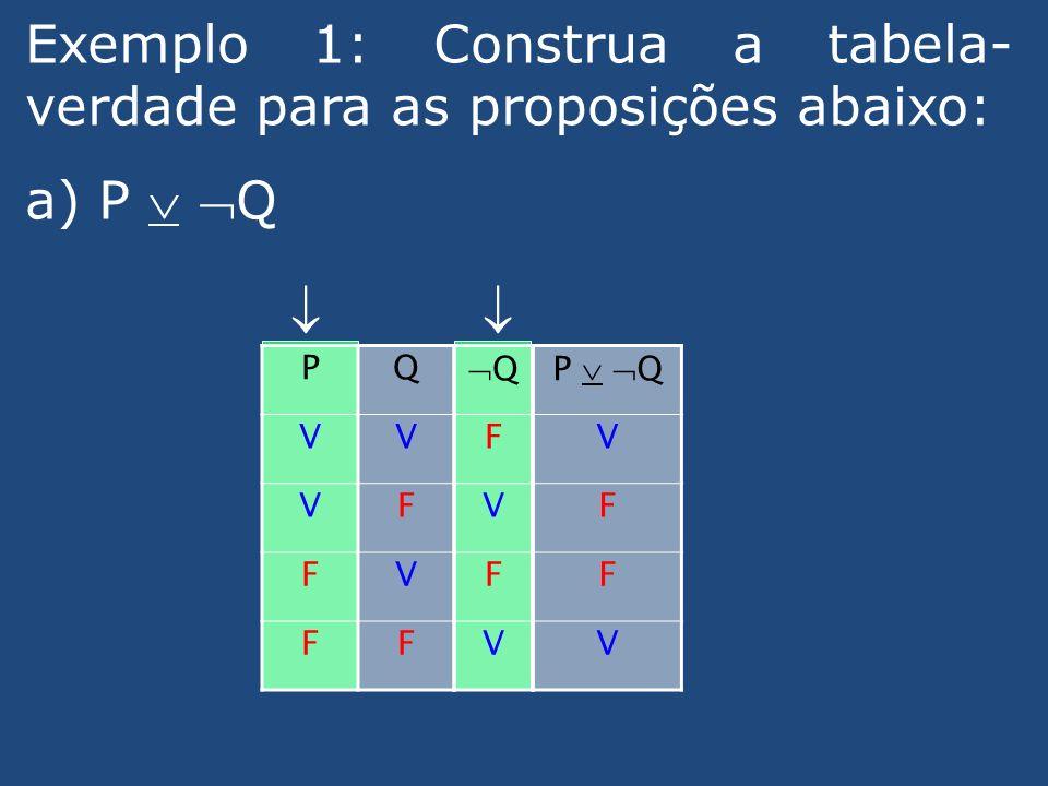 Exemplo 1: Construa a tabela-verdade para as proposições abaixo: