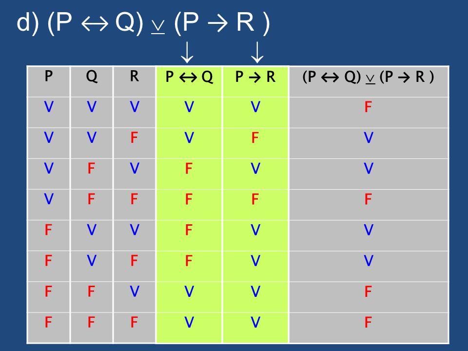 d) (P ↔ Q)  (P → R )   P Q R V F P ↔ Q V F P ↔ Q V F P → R V F