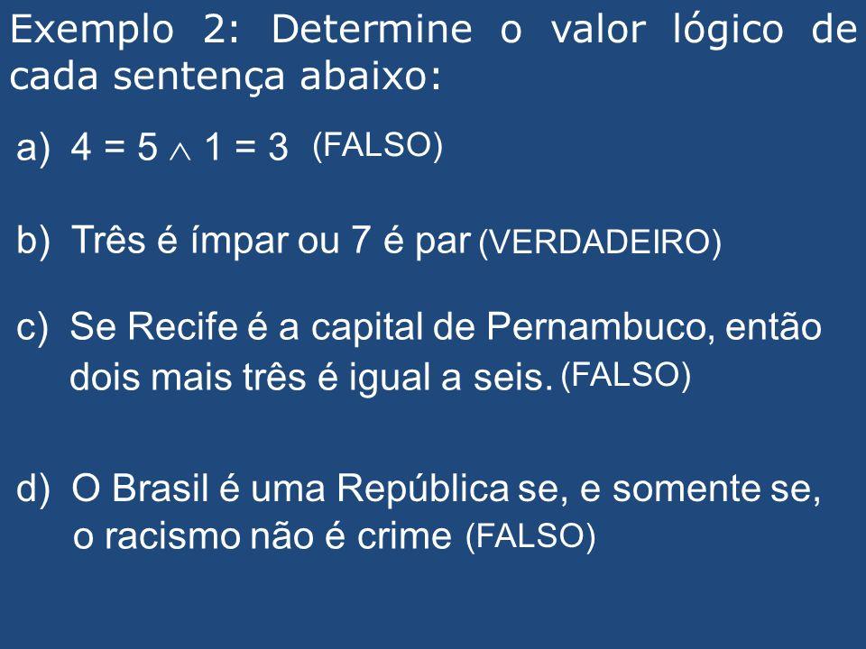 Exemplo 2: Determine o valor lógico de cada sentença abaixo: