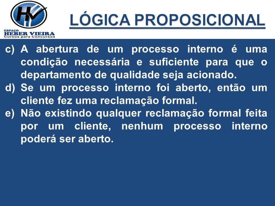 LÓGICA PROPOSICIONAL A abertura de um processo interno é uma condição necessária e suficiente para que o departamento de qualidade seja acionado.