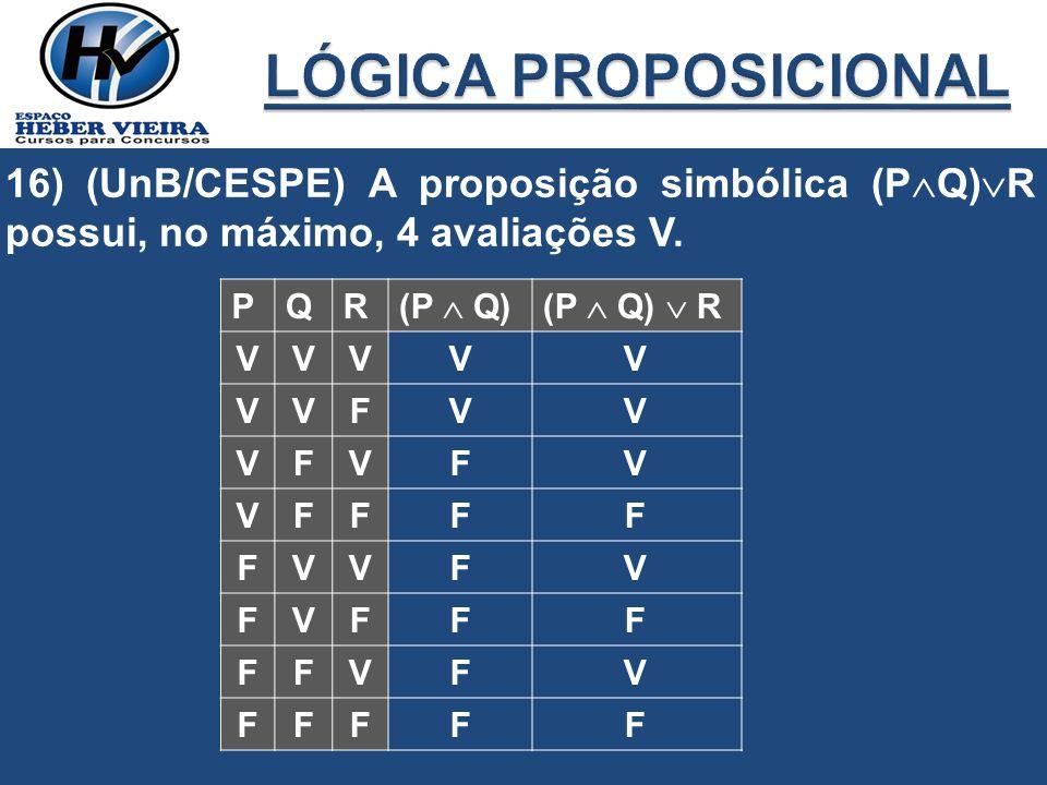 LÓGICA PROPOSICIONAL 16) (UnB/CESPE) A proposição simbólica (PQ)R possui, no máximo, 4 avaliações V.