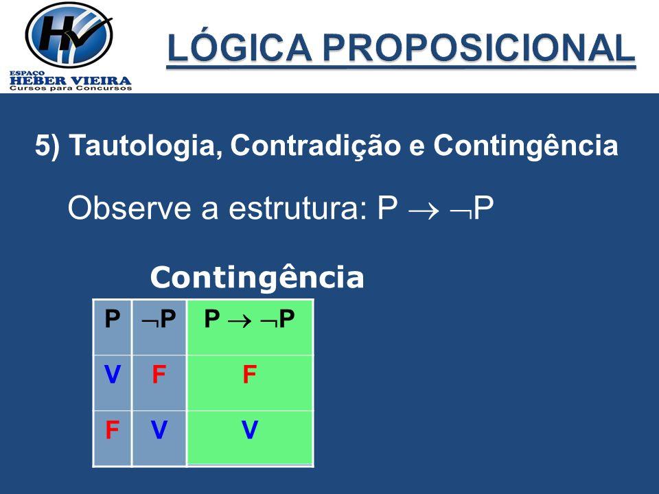 LÓGICA PROPOSICIONAL Observe a estrutura: P  P