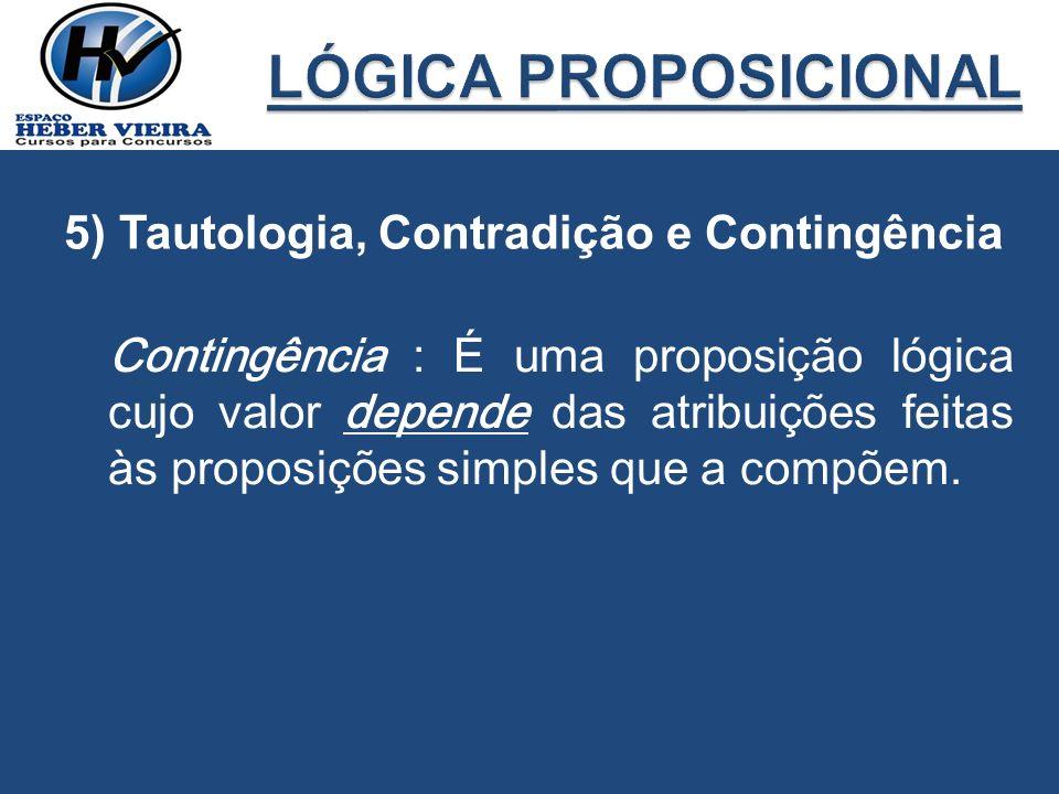 LÓGICA PROPOSICIONAL 5) Tautologia, Contradição e Contingência
