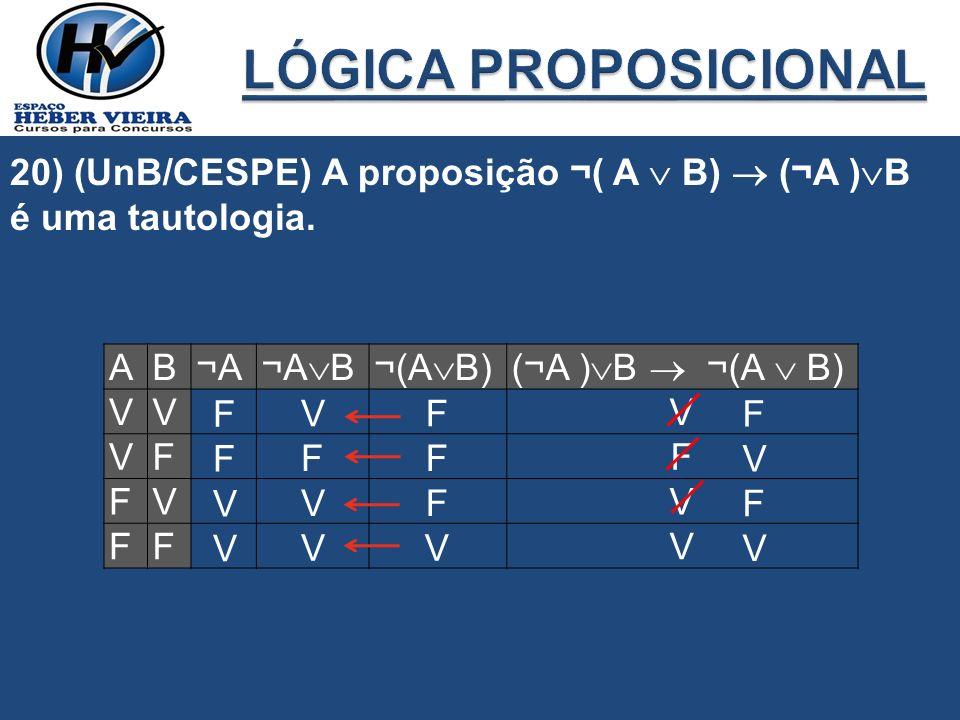 LÓGICA PROPOSICIONAL 20) (UnB/CESPE) A proposição ¬( A  B)  (¬A )B é uma tautologia. A. B. ¬A.