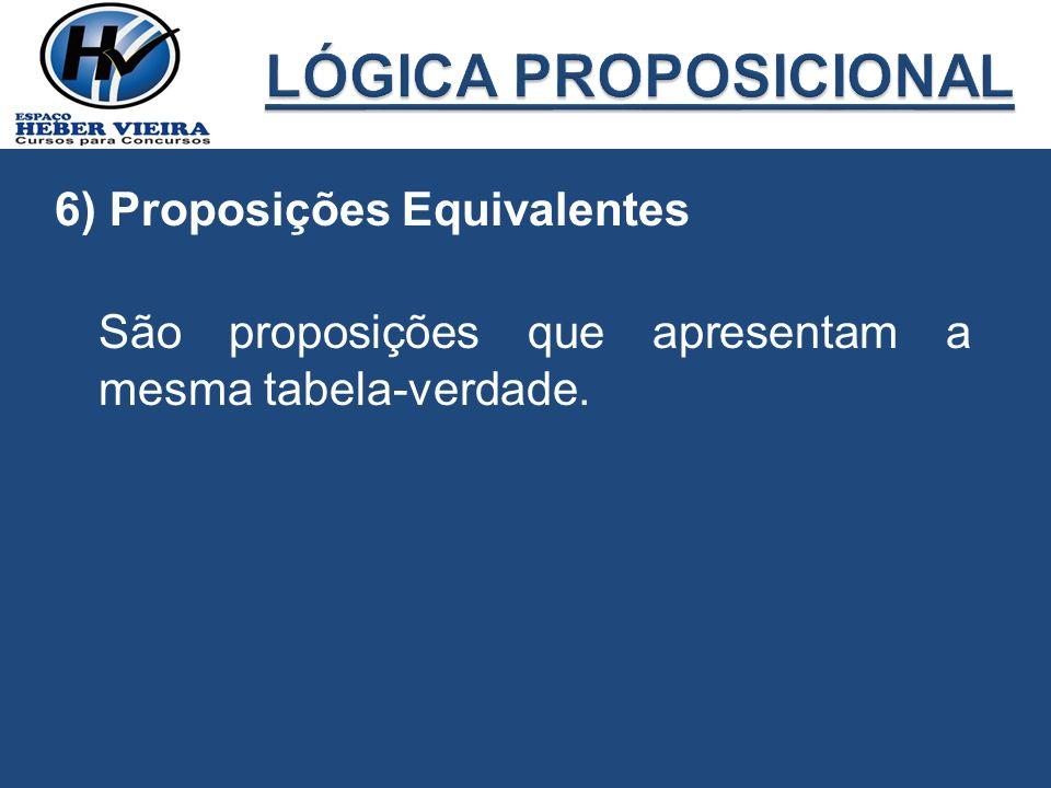LÓGICA PROPOSICIONAL 6) Proposições Equivalentes