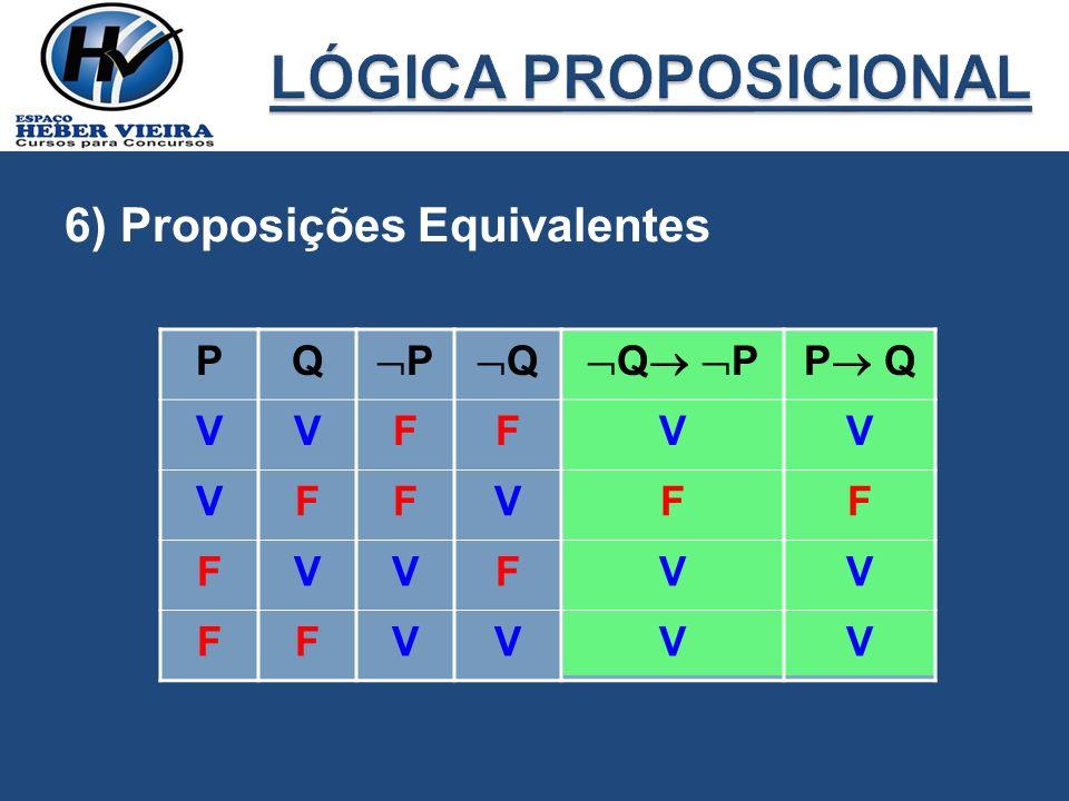 LÓGICA PROPOSICIONAL 6) Proposições Equivalentes P Q P Q Q P P Q