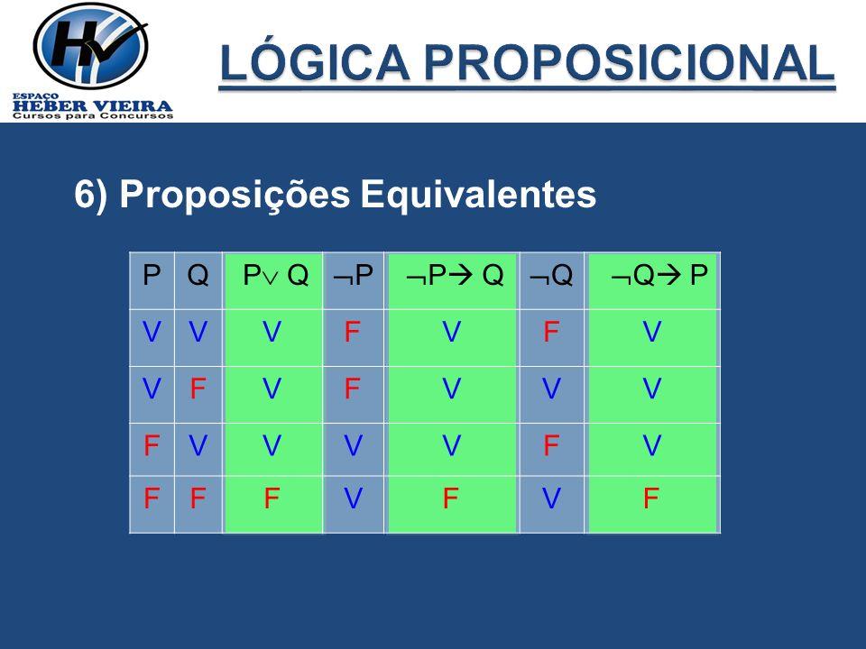 LÓGICA PROPOSICIONAL 6) Proposições Equivalentes P Q P Q P P Q Q