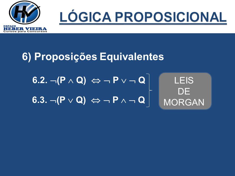 LÓGICA PROPOSICIONAL 6) Proposições Equivalentes 6.2. (P  Q) 