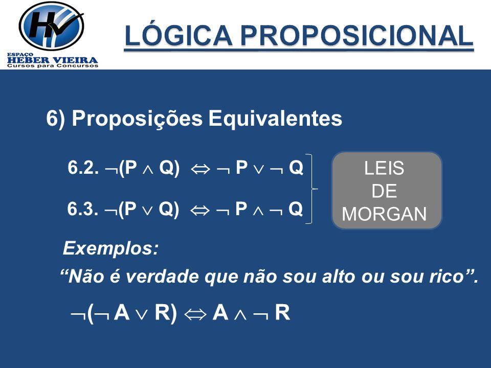 LÓGICA PROPOSICIONAL 6) Proposições Equivalentes ( A  R)  A   R