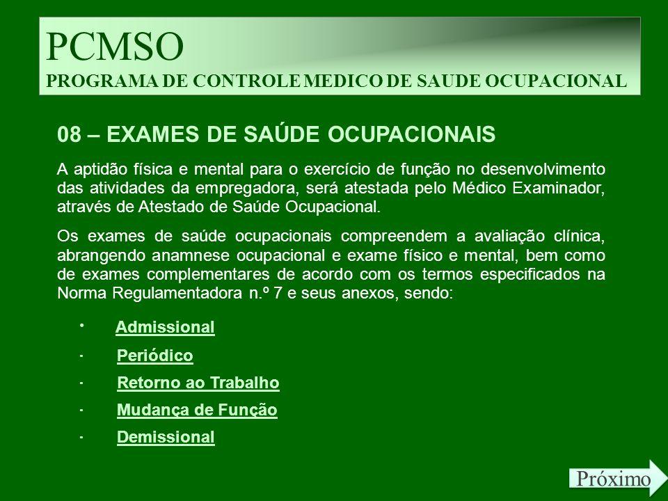 PCMSO PROGRAMA DE CONTROLE MEDICO DE SAUDE OCUPACIONAL