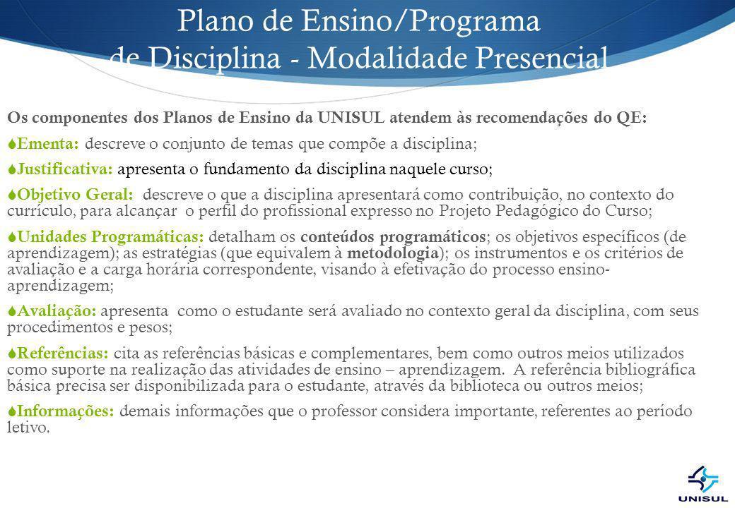 Plano de Ensino/Programa de Disciplina - Modalidade Presencial