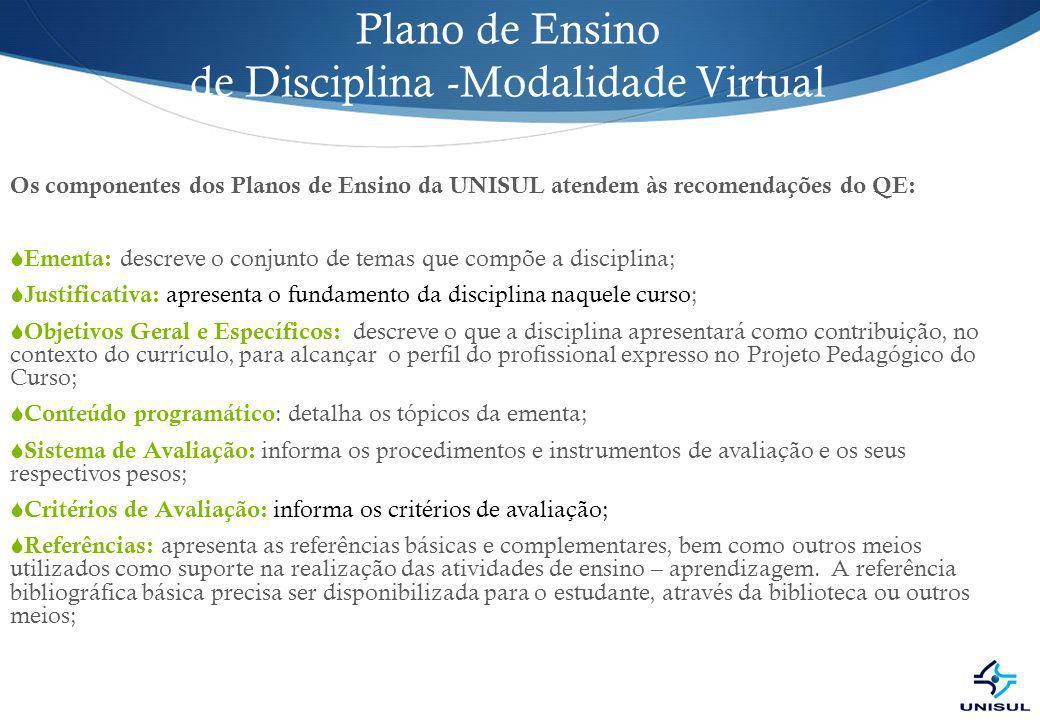Plano de Ensino de Disciplina -Modalidade Virtual