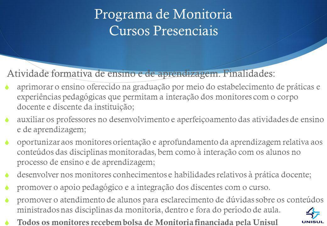 Programa de Monitoria Cursos Presenciais