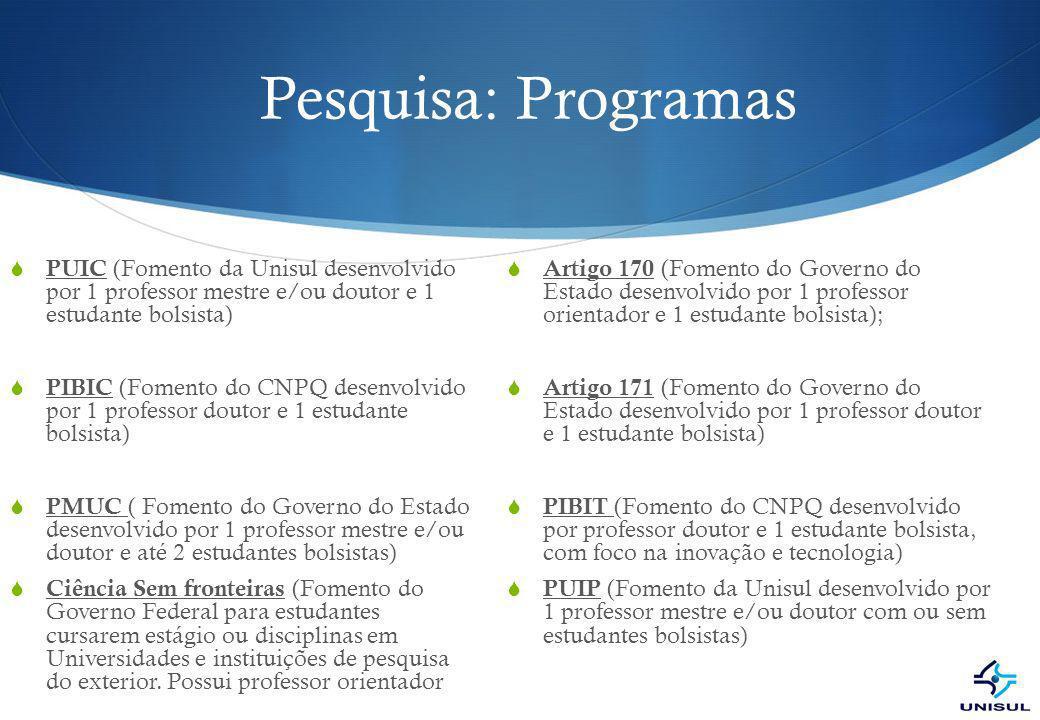 Pesquisa: Programas PUIC (Fomento da Unisul desenvolvido por 1 professor mestre e/ou doutor e 1 estudante bolsista)
