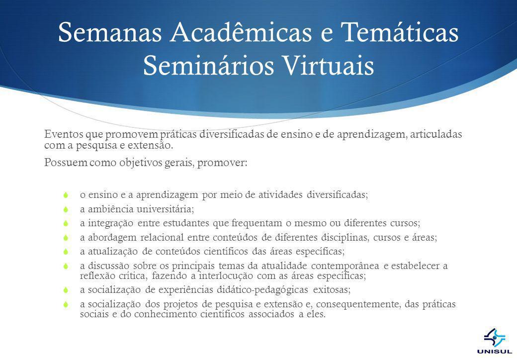 Semanas Acadêmicas e Temáticas Seminários Virtuais
