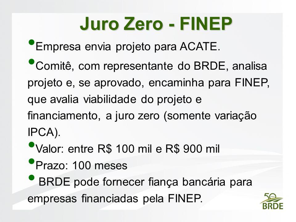 Juro Zero - FINEP Empresa envia projeto para ACATE.