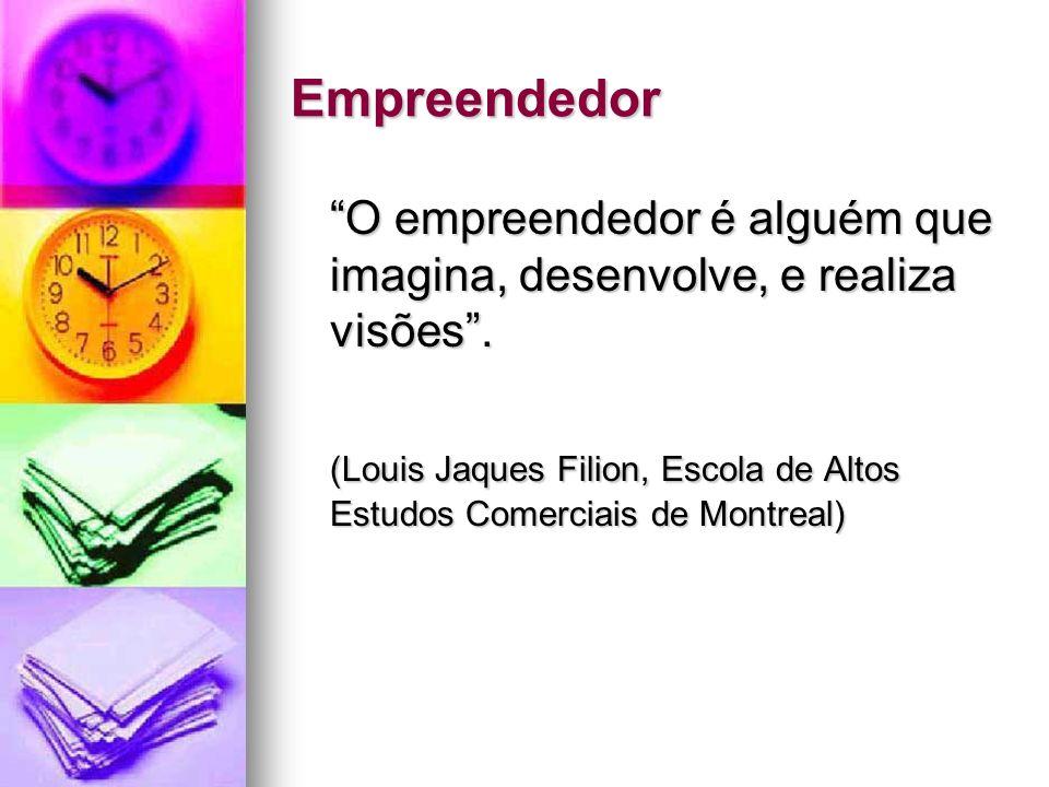 Empreendedor O empreendedor é alguém que imagina, desenvolve, e realiza visões .