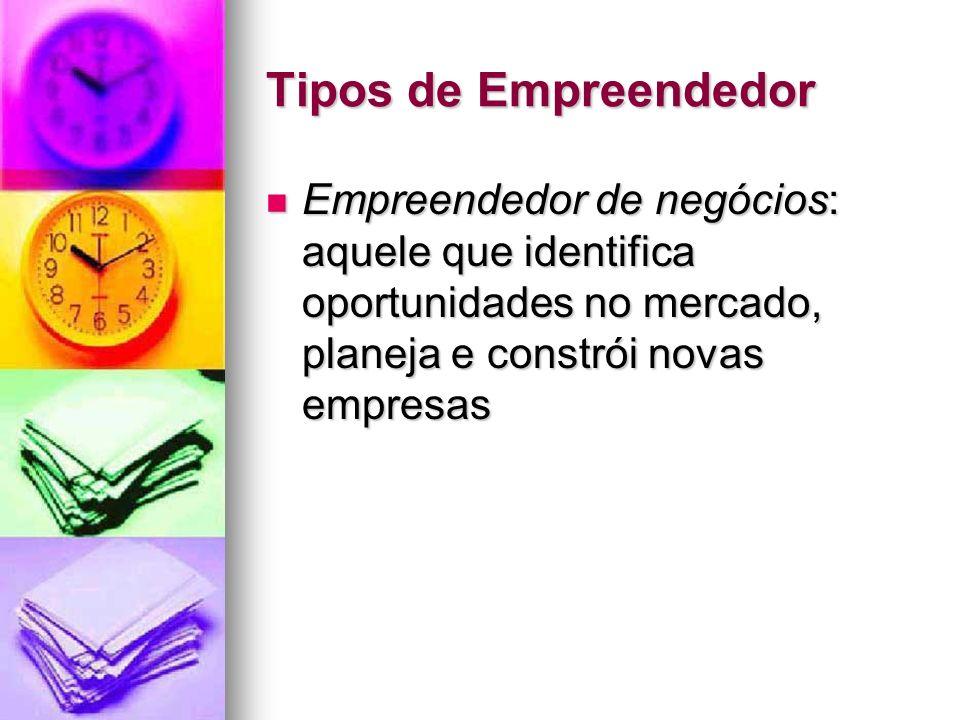 Tipos de EmpreendedorEmpreendedor de negócios: aquele que identifica oportunidades no mercado, planeja e constrói novas empresas.