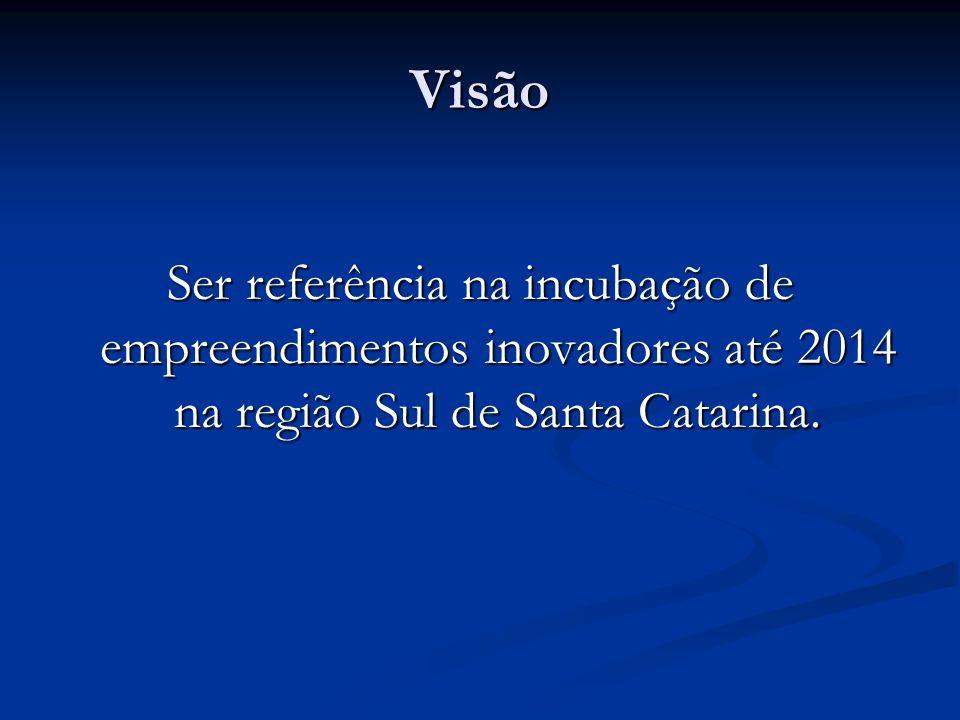 Visão Ser referência na incubação de empreendimentos inovadores até 2014 na região Sul de Santa Catarina.