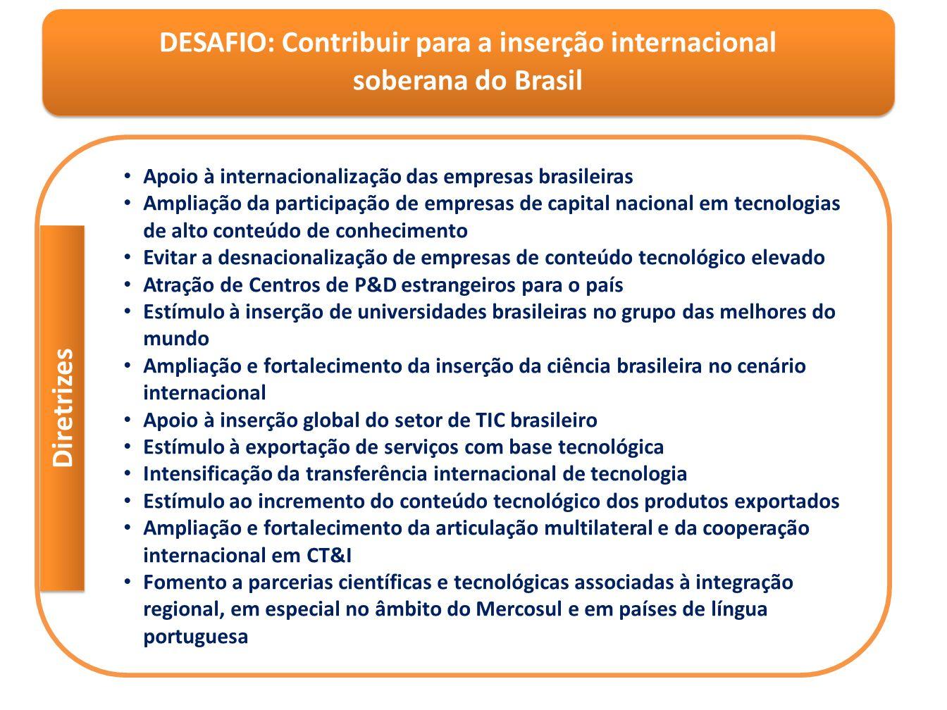 DESAFIO: Contribuir para a inserção internacional