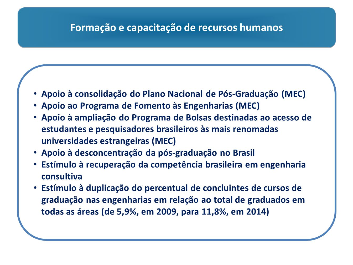 Formação e capacitação de recursos humanos