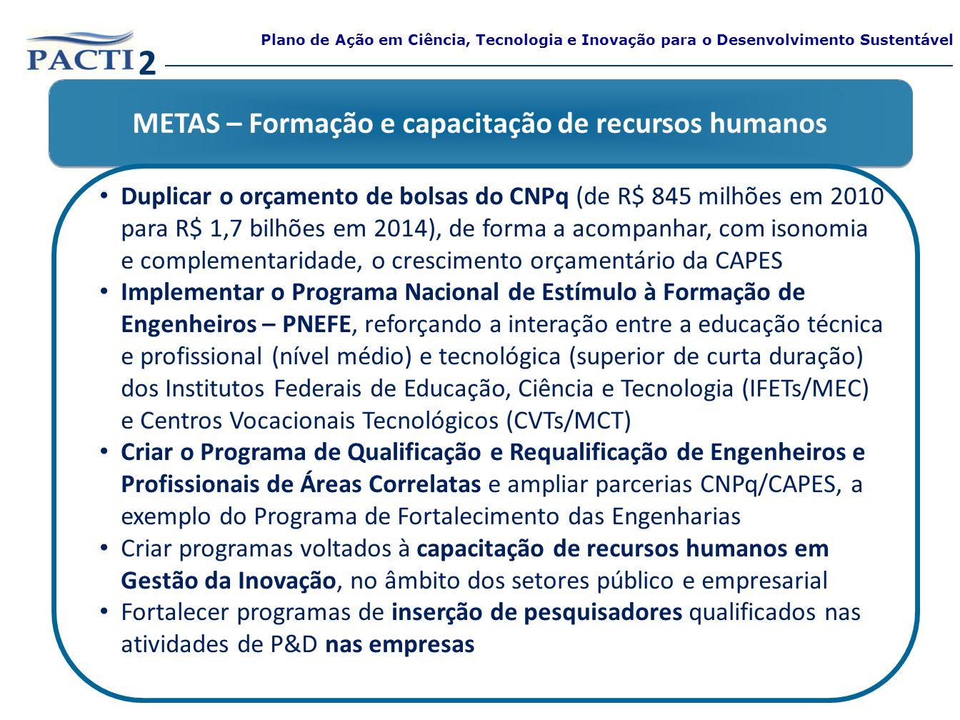 METAS – Formação e capacitação de recursos humanos