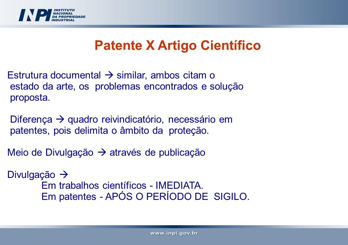 Patente X Artigo Científico