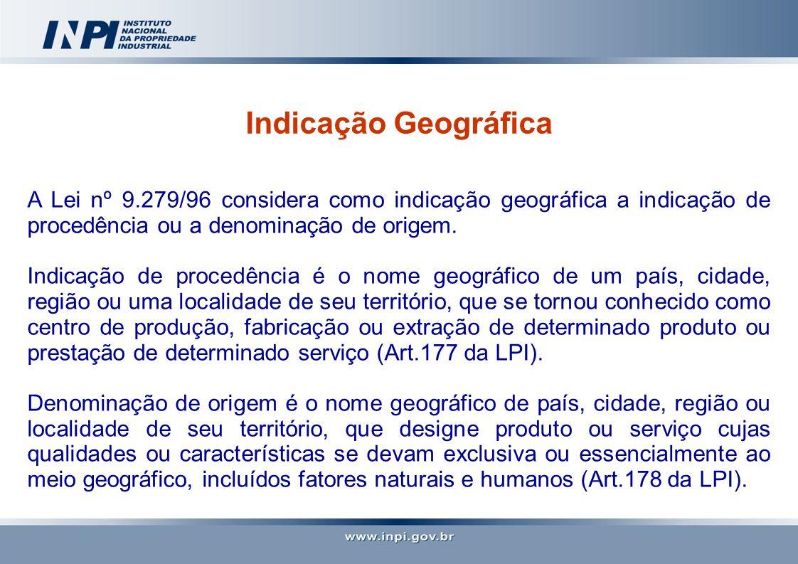 Indicação Geográfica A Lei nº 9.279/96 considera como indicação geográfica a indicação de procedência ou a denominação de origem.