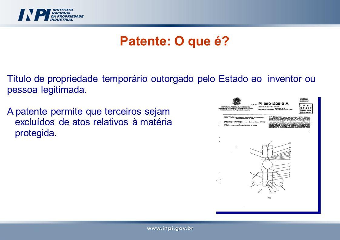 Patente: O que é Título de propriedade temporário outorgado pelo Estado ao inventor ou pessoa legitimada.