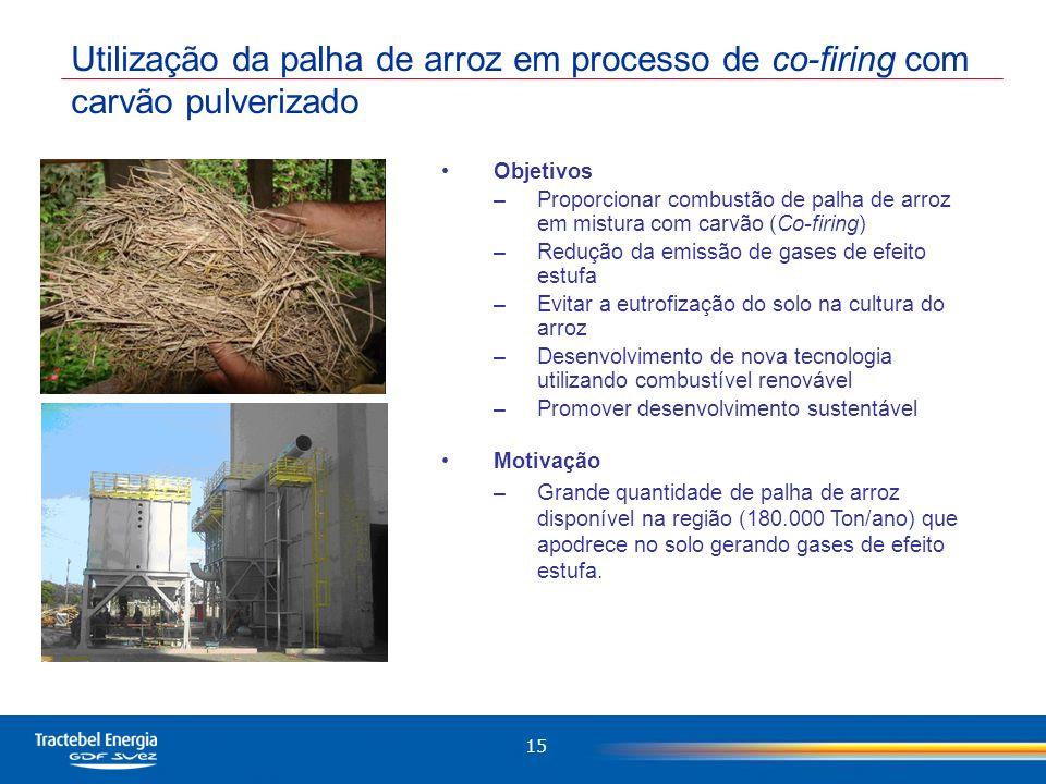 Utilização da palha de arroz em processo de co-firing com carvão pulverizado